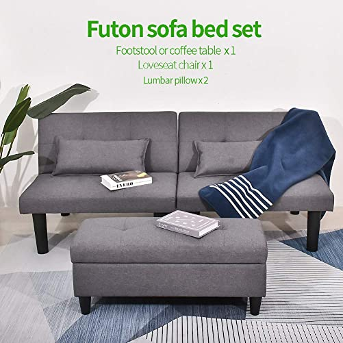 URRED Futon Sofa Bed and Sleeper with a 2 Uses Storage Footstool Ottoman or Coffee Table and 2 Lumbar Pillows, Dorm Kebo Tufted Adjustable Convertible Futon Sofa Bed Sleeper Armless Linen Gray