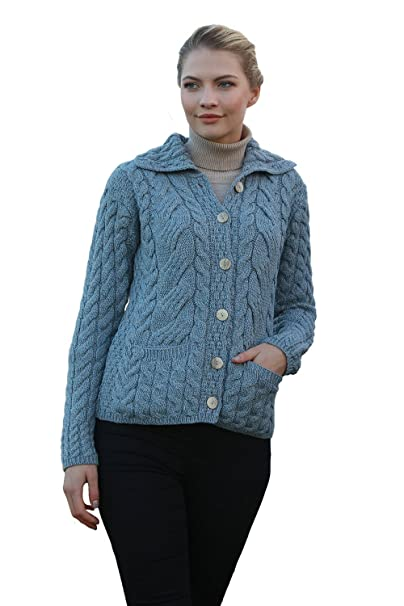 Ladies Colorful 1920s Sweaters and Cardigans History Ladies Irish Buttoned Cable Knit Super Soft Merino Wool Cardigan $94.95 AT vintagedancer.com