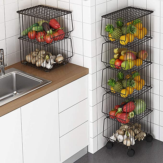 Whifea Metal Wire Basket with Wheels and Cover, 5 Tier Stackable Rolling Fruit Basket Utility Rack, Storage Organizer Bin for Kitchen, Pantry Closet, Bedroom, Bathroom best pantry organization systems