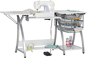 Sew Ready Pro Stitch Sewing Machine Table with 3-Wire Mesh Drawers and Drop Leaf Side Shelf, Craft Table and Computer Desk, Powder Coated Steel Frame in Silver with 47.25