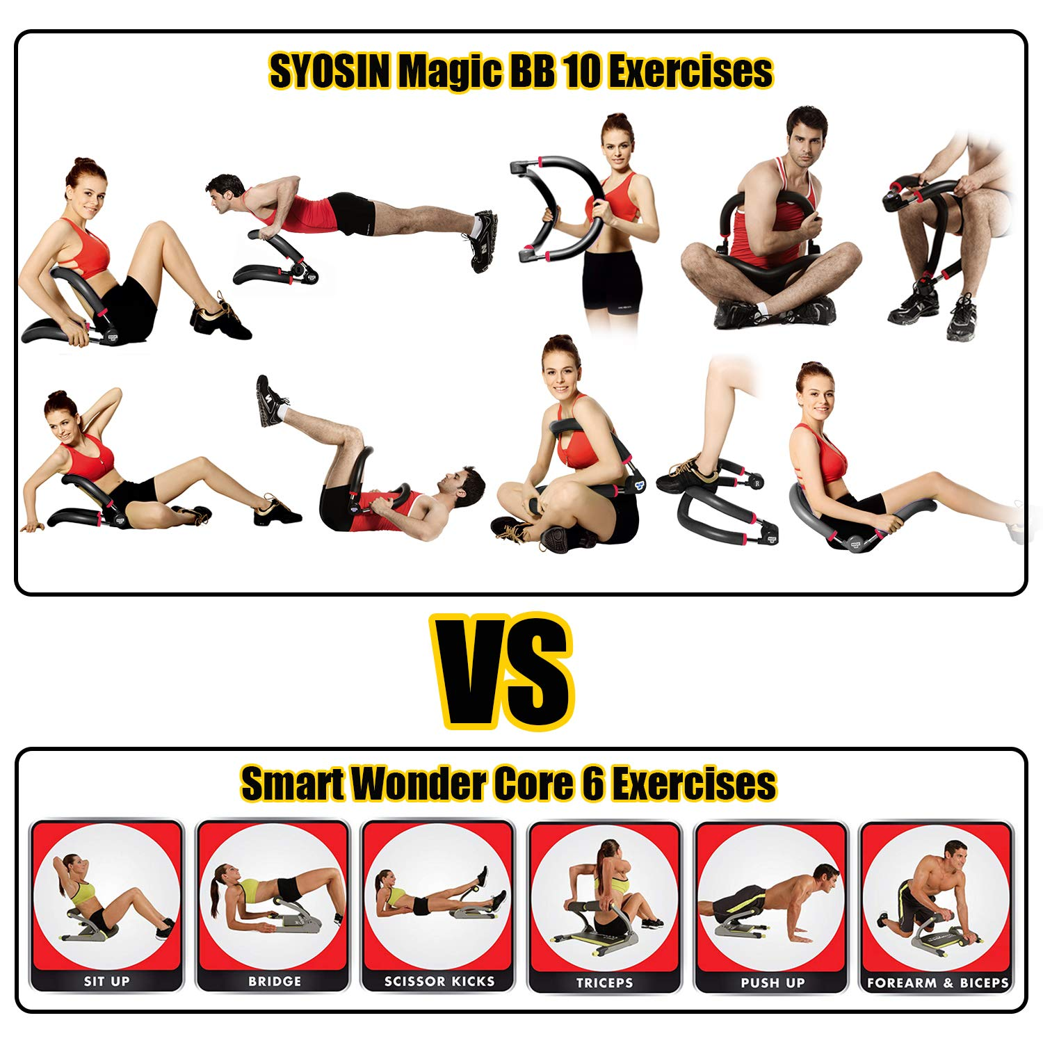 SYOSIN Abdominal Equipment for Full Range of Motion Ab Core Workouts,Home Gym Fitness Push Ups Intensity Adjustable Training Equipment Arm Leg Exercise