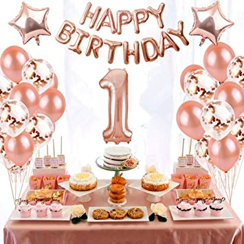 Happy Birthday Set Ballon Luftballons Rose Gold Konfetti Set Geburtstag