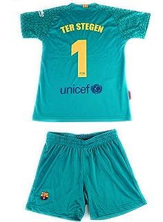Rogers Equipación 17-18 FC Barcelona niño TER STEGEN Camiseta pantalón  Tallas 6 a 14 2efd5f21659