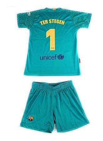 05a2c8a3d1 Rogers Equipación 17-18 FC Barcelona niño TER STEGEN Camiseta pantalón  Tallas 6 a 14  Amazon.es  Deportes y aire libre