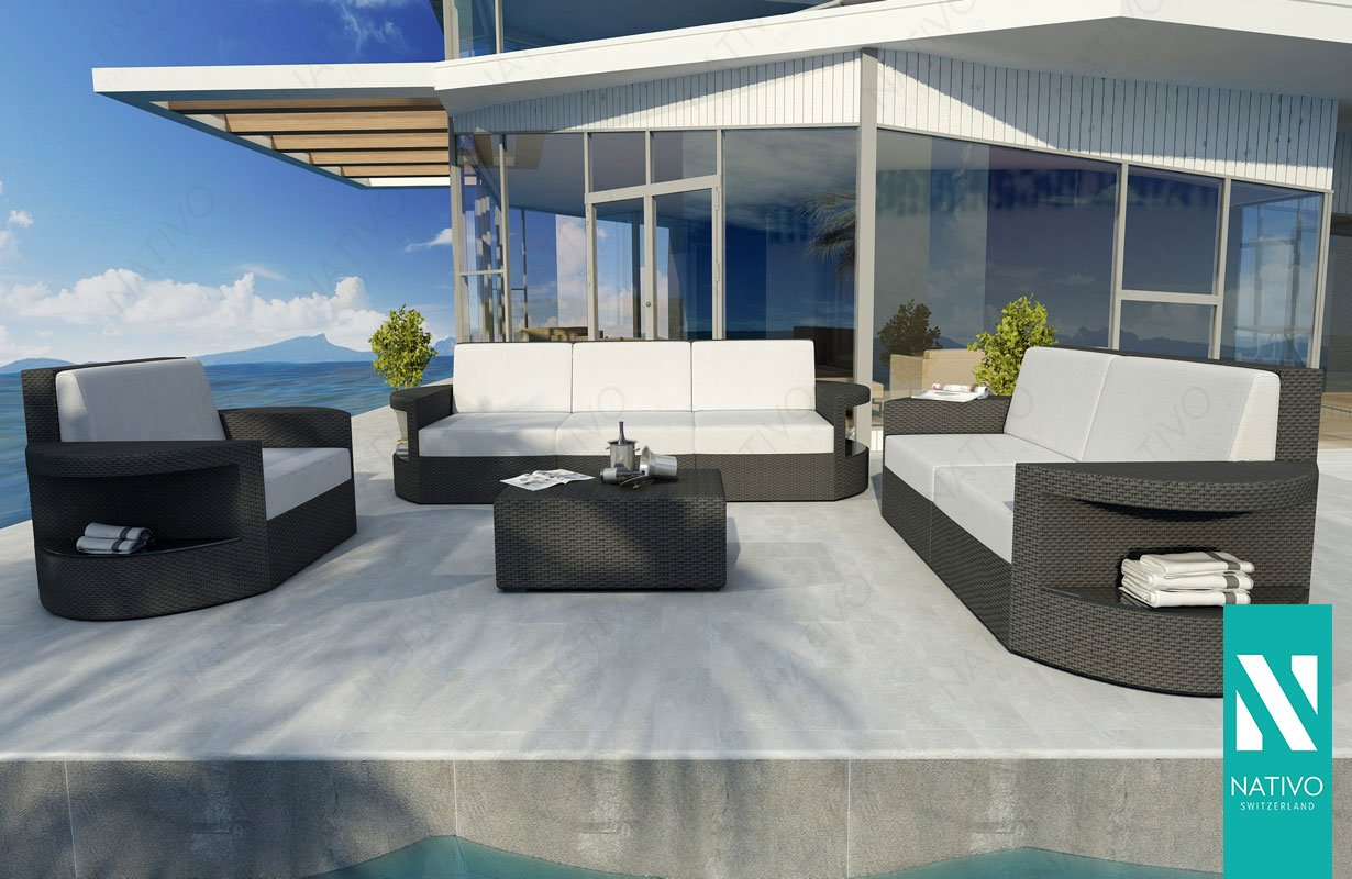 Designer rattan lounge set atlantis v outdoor luxus lounge