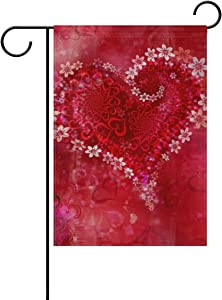 Naanle Happy Valentine's Day Polyester Garden Flag 12 X 18 Inches Double Sided, Floral Love Heart Decorative Yard Flag for Party Home Outdoor Decor