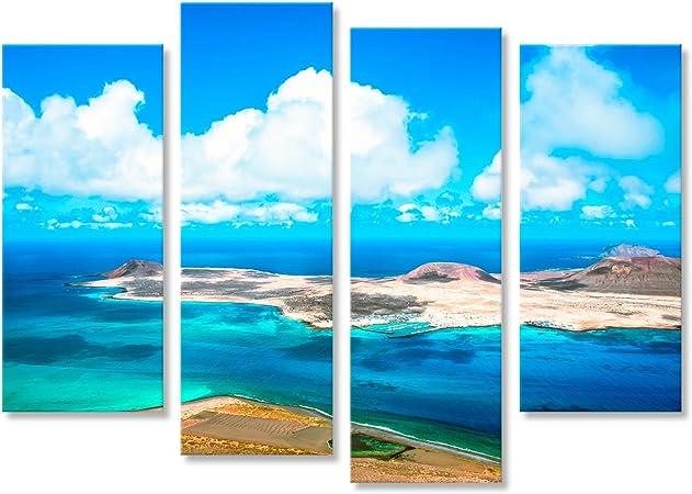 islandburner Cuadro Isla Volcánica La Graciosa - Lanzarote, Islas Canarias, España Impresión sobre Lienzo - Formato Grande - Cuadros Modernos JVP: Amazon.es: Hogar