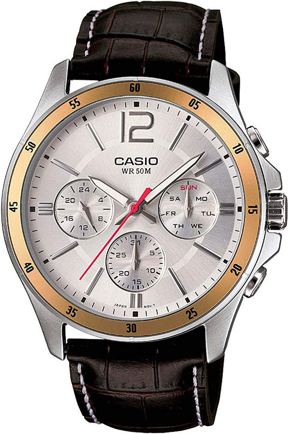 Casio Enticer Chronograph White Dial Men s Watch – MTP-1374L-7AVDF A835