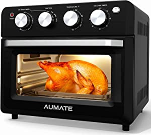 AUMATE Air Fryer Oven,Air Fryer Toaster Oven Combo,7-in-1 Large Convection Roaster Oven,Countertop Oven with Rotisserie & Dehydrator,1550W Oilless Knob Control Electric Oven,4 Accessories,19 QT,Black