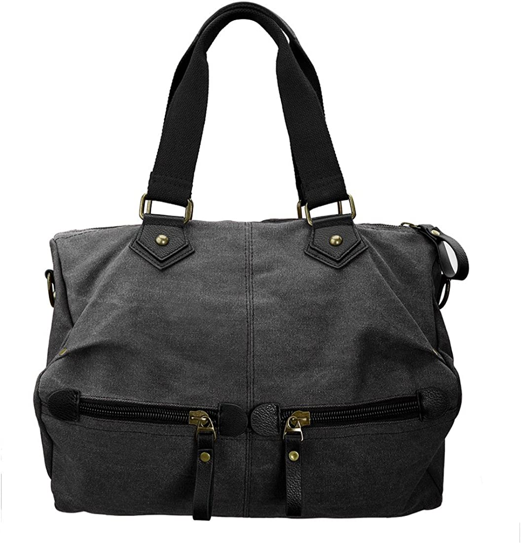 BMC Womens Durable Canvas Material Double Top Handle Large Satchel Handbag