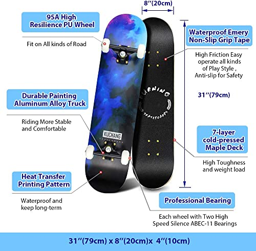 Phoeros Skateboards -Standard Skateboards for Kids Boys Girls Youths Beginners Starter-Complete Skate Boards 31 x 8 Canadian Maple Pro Cruiser