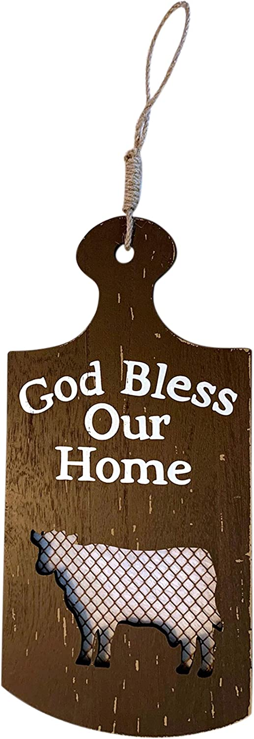 Trinity Church Supply God Bless Our Home Cow Silhouette Paddle Sign for Kitchen, Farmhouse Decor for The Home,13 Inch