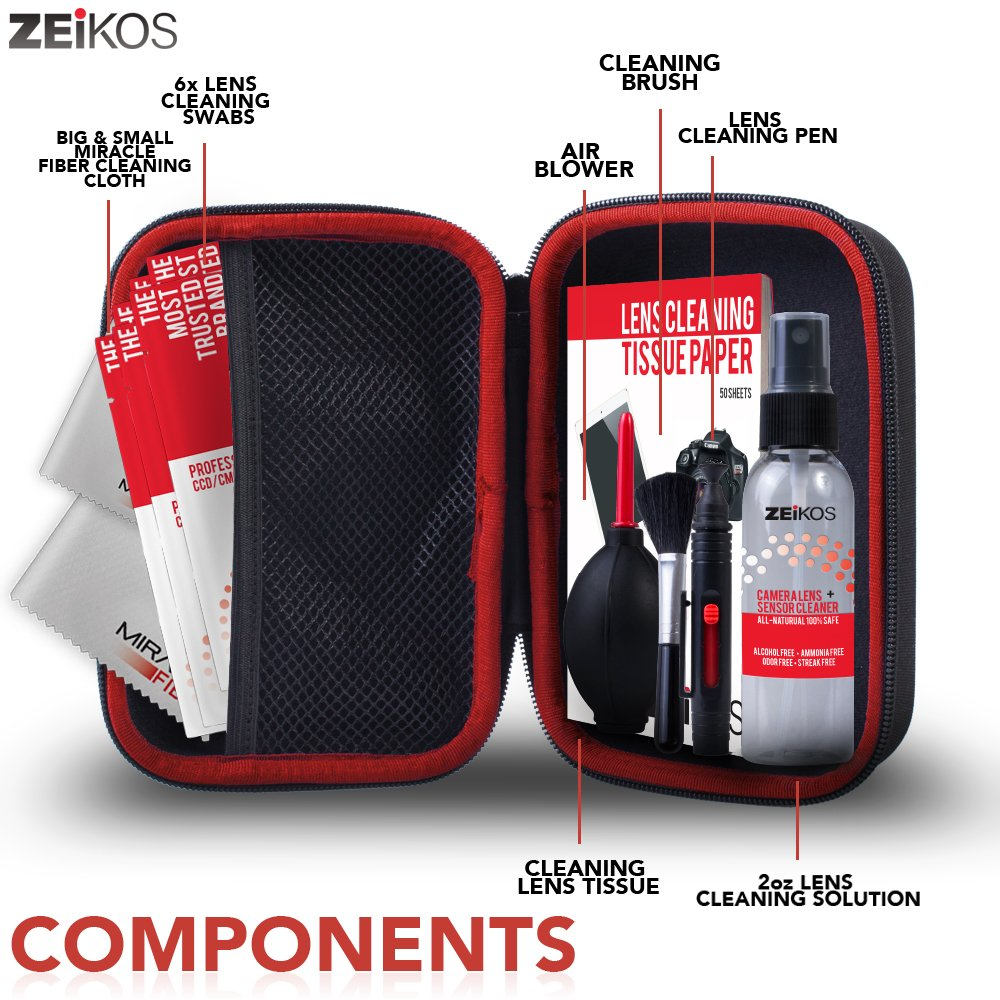 Zeikos Professional Camera Cleaning Kit, Includes Air Blower, Lens Cleaning Pen, Lens Brush, 6-Swabs,1-6X7 and 1-16X16 Miracle Cloth, 50 Sheets Tissue, 2oz Lens Cleaning Spray and Hard Case, 14 Piece by Zeikos