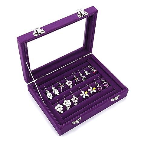Caja organizadora Ivosmart con 24 secciones de terciopelo y tapa de vidrio para guardar joyas, con exhibidor de anillos o bandeja para aretes., ...