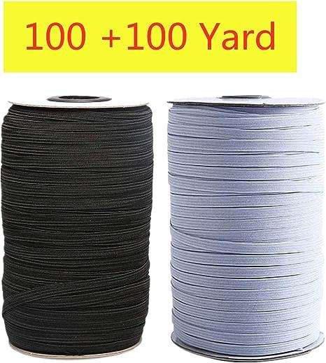 200 Yards Length 1//4 Inch Width Briaded Elastic Band Black Elastic String Cord Heavy Stretch High Elasticity Knit Elastic Band for Sewing Craft DIY Mask