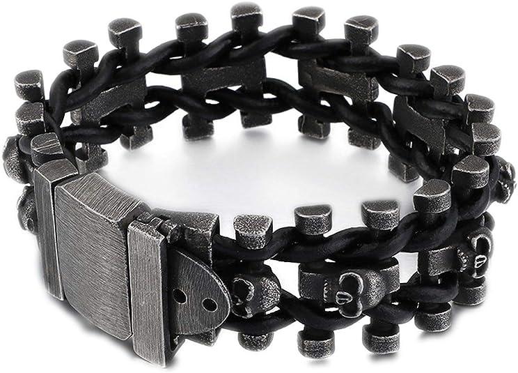 Amazon.com: Punk Multiple Skull Heads Charm Bracelets for Men Leather & Stainless Steel Brushed Matte Bike Chain Bracelets Jewelry, 220-25mm: Jewelry