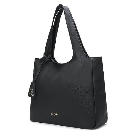 277cfe55b9ad Kadell Women Tote Bags Simple Designer Handbag for Ladies Soft PU Leather  Shoulder Bag Black  Amazon.co.uk  Luggage