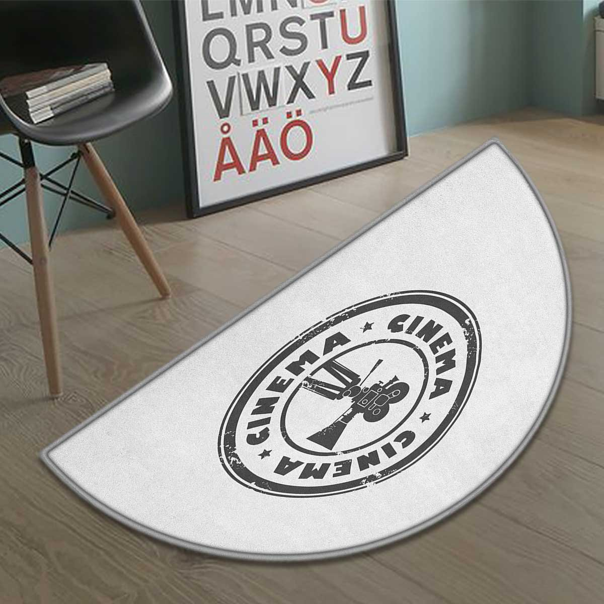 Movie Theater bath mats for floors Abstract Grunge Stamp with Movie Camera and the Word Cinema Inside door mat indoors Bathroom Mats Half Moon Non Slip Charcoal Grey White size:31.5''x19.7''