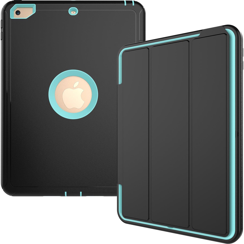 iPad Mini 1 2 3ケース、衝撃吸収でスマートカバーPUレザーPC Armor back全面保護スタンドケースfor Ipad Mini 1 2 3 (モデルa1432 a1454 a1455 a1489 a1490 a1491 a1599 a1600 a1601 ) B073XLNTB5 Light/Black Light/Black
