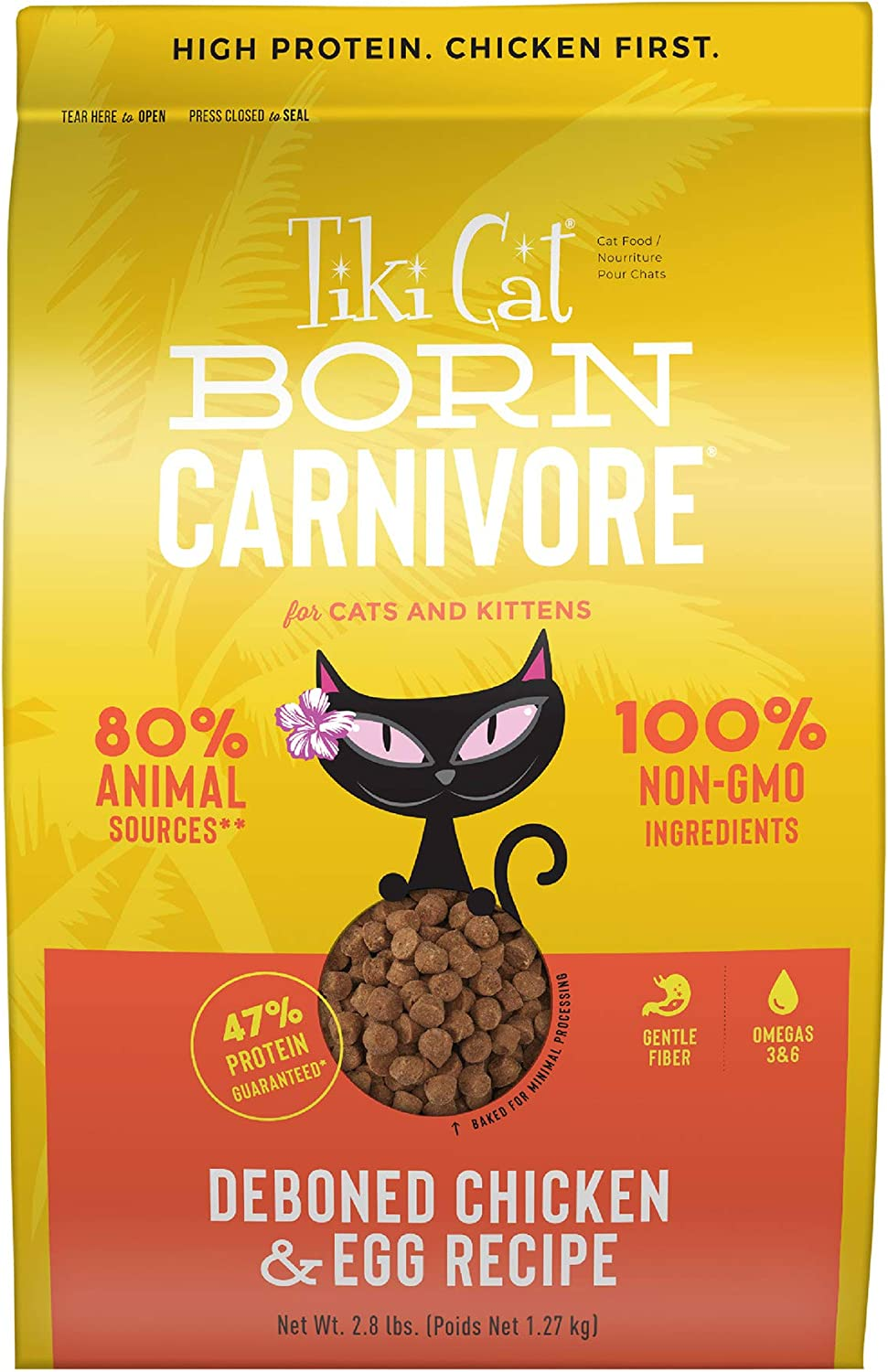 Tiki Cat Born Carnivore Low Carb Grain Free Dry Cat Food - Baked with Fresh Meat - Chicken & Egg Recipe