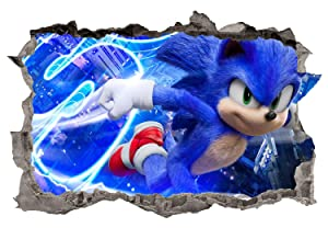 Adventure Sonic Wall Decals 3D Smashed Custom Hedgehog Kids Game Wall Art Room Wall Decor Boys Bedroom Poster Mural Wallpaper Removable Vinyl Wall Stickers Gift (36