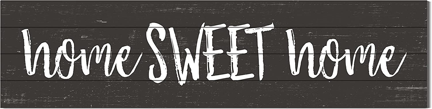 """Kindred Hearts 40""""x10"""" Sweet Home Shiplap Wall Sign, White/Black"""
