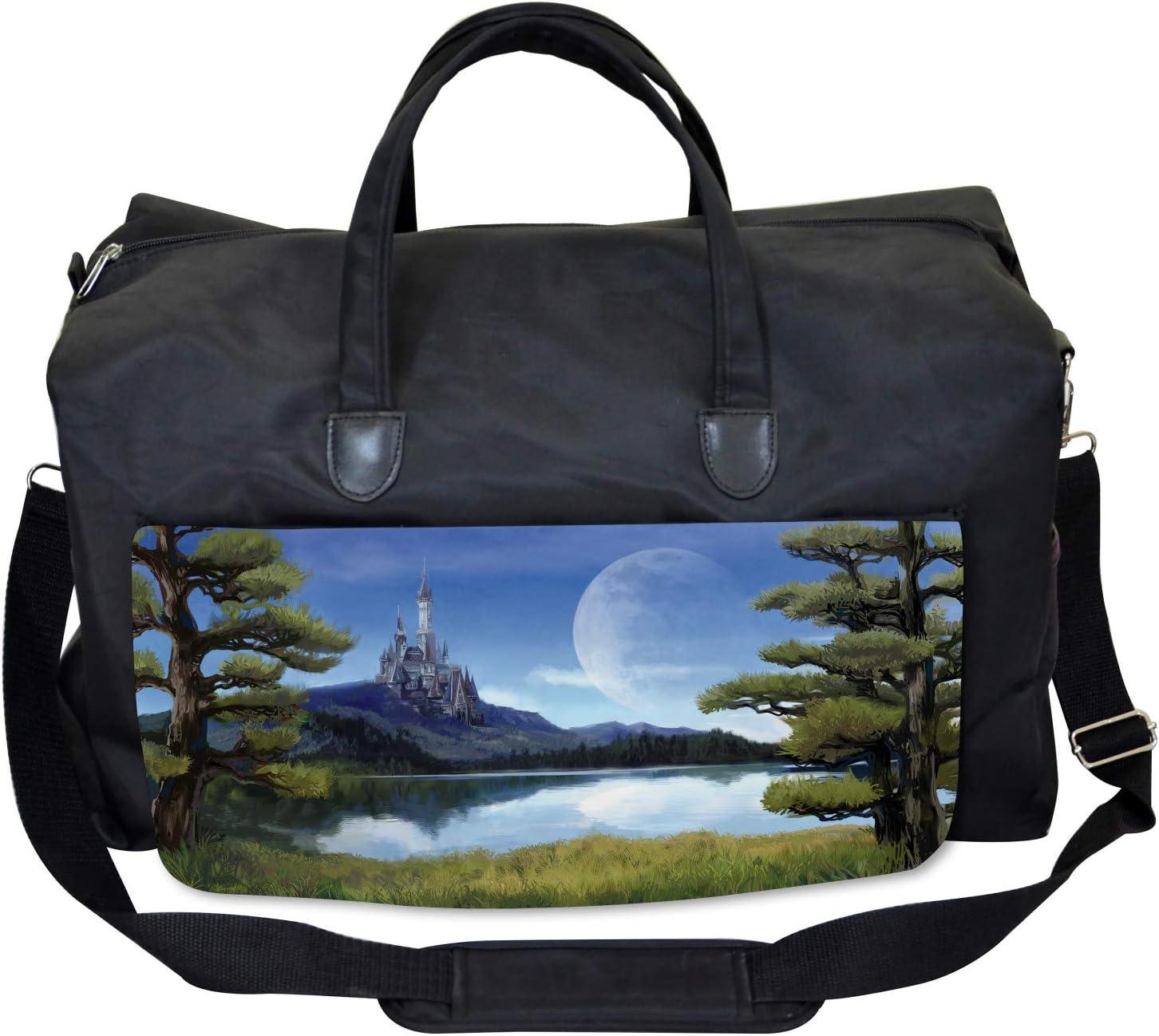 Riverside Lake Scene Large Weekender Carry-on Ambesonne Fantasy Gym Bag