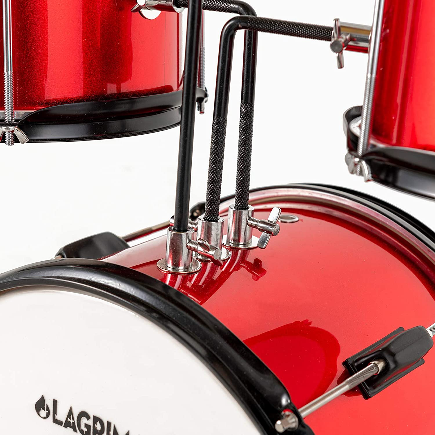 Rose Red Pedal /& Drumsticks LAGRIMA 12 inch 3-Piece Kids//Junior Drum Set with Adjustable Throne Cymbal