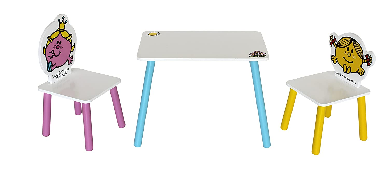Little Miss - Table + 2 Chairs. Childrens Kids Themed Wooden Table and Chair Set - by Kiddi Style The Style Products Company