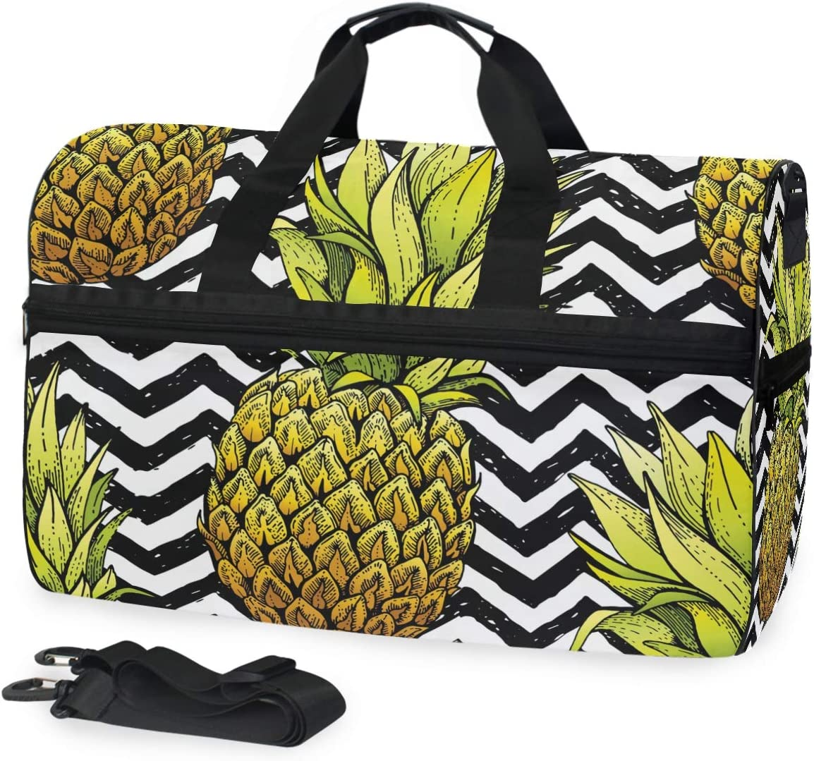 Pineapples On White And Black Stripes Sports Gym Bag with Shoes Compartment Travel Duffel Bag for Men and Women