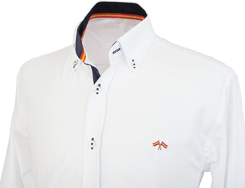 Pi2010 Camisa Bandera de España Hombre Blanca con Marino: Amazon ...