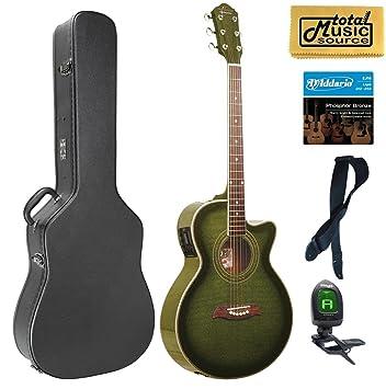 Oscar Schmidt concierto guitarra acústica/eléctrica, og10ceftgr, Trans verde, lote de funda: Amazon.es: Instrumentos musicales