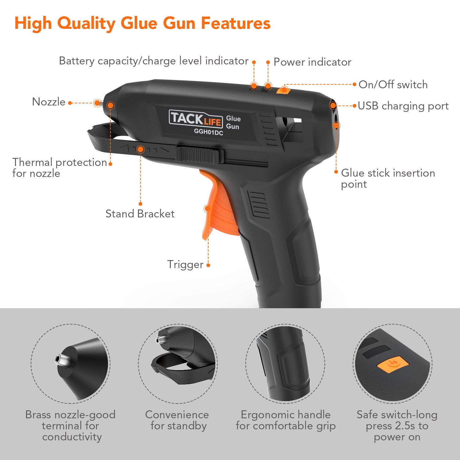 Hot Glue Gun Cordless with 50pcs Glue Sticks, Tacklife 3.6V Rechargeable Melting Glue Gun with USB Charging Cable, Seperate On/Off Switch for DIY and Repair Kit - GGH01DC by TACKLIFE (Image #2)