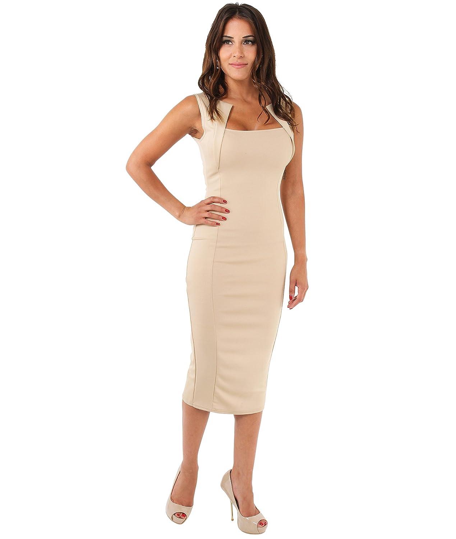 KRISP Damen Stretch Kleid Etuikleid Bleistiftkleid Trägerkleid
