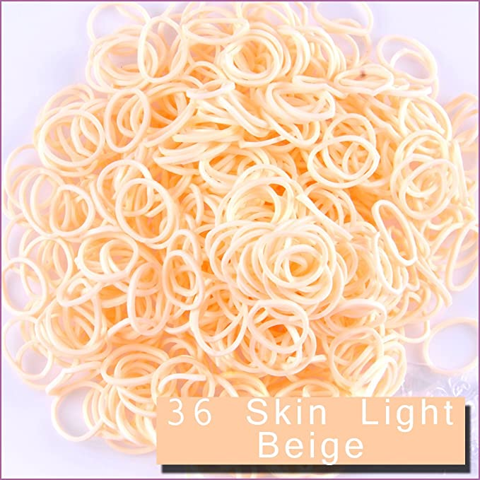 6000 PCS 240 Clips Bands Refills for Loom Rainbow Bracelet Dress Making Skin Tone Skin Brown TM Kirinstores