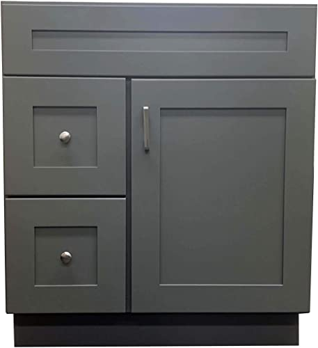 New Grey Shaker Single-Sink Bathroom Vanity Base Cabinet 30″ Wide x 21″ Deep GS-V3021DLR