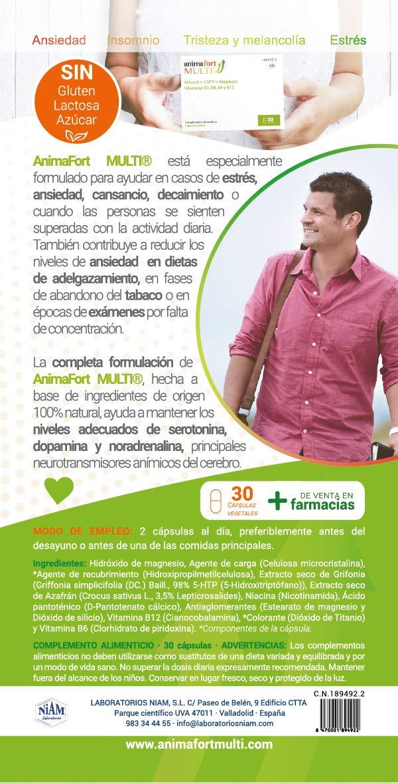 Niam Laboratorios Animafort MULTI Cápsulas Vegetales con Afron, 5-HTP, Magnesio y Vitaminas B, 30 Cápsulas