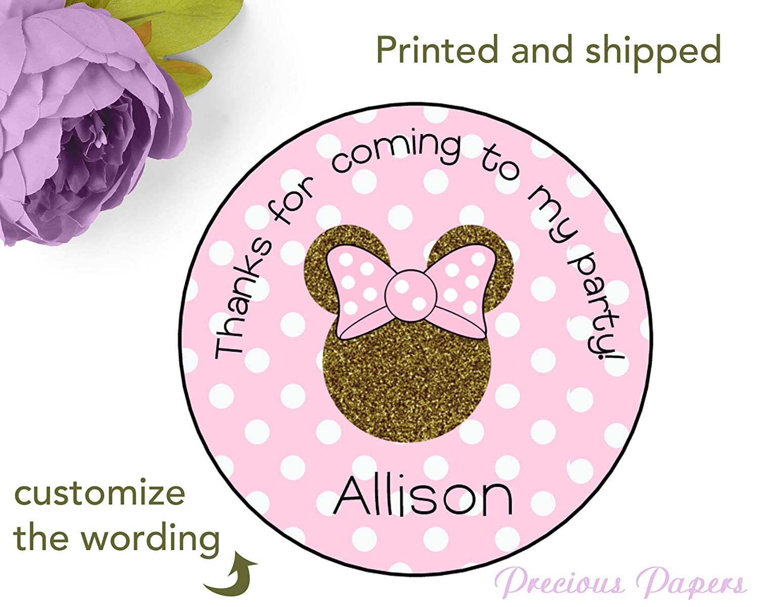 Printed and shipped set of 24 Pink and gold Mouse stickers Personalized