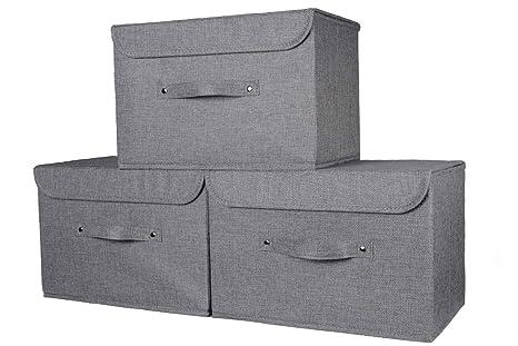 Grau Aufbewahrungsbox mit Deckel Breiter Griff Starker