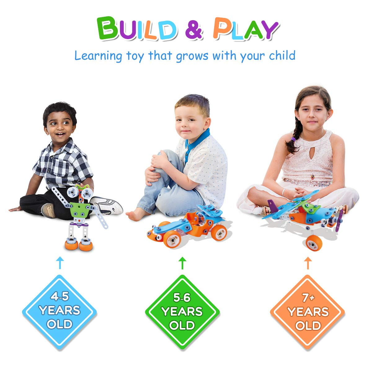 STEM Toys, 189 pcs 6-in-1 Build and Play Toy Set Educational Construction Engineering Building Blocks Learning Kit for Boys and Girls