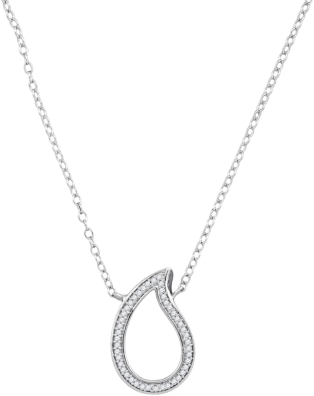 10kt White gold Womens Round Diamond Teardrop Pendant Necklace 1 10 Cttw