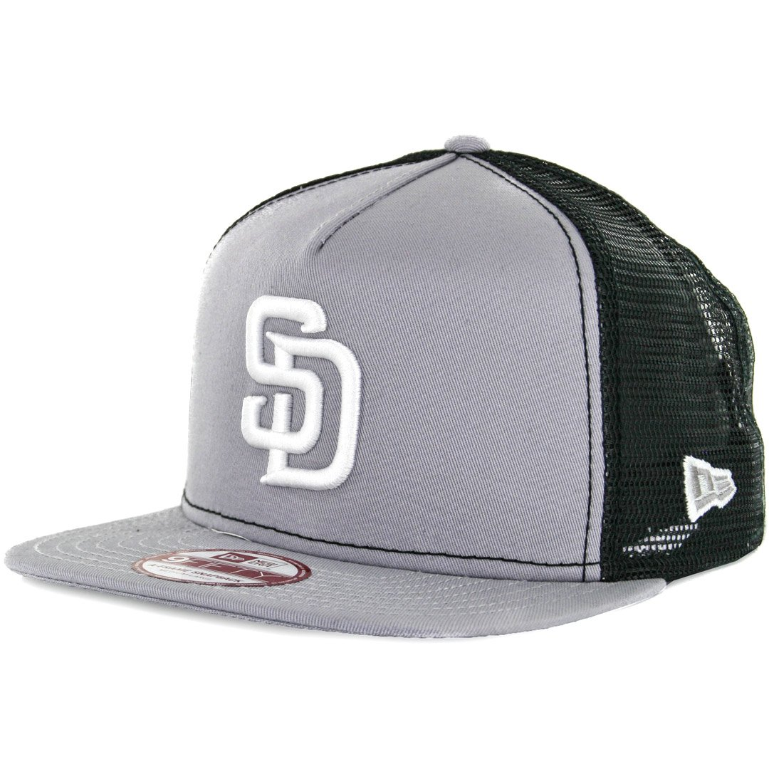 Amazon.com   New Era 9Fifty San Diego Padres Trucker Snapback Hat  (Grey White) Men s Mesh Cap   Sports   Outdoors d2c27a3f3e9