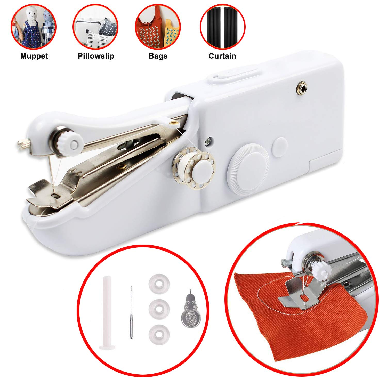Handheld Sewing Machine Portable Stitching Machine FineWish Cordless Sewing Machine Mini Stitch Craft Machine DIY Home Travel for Fabric Clothing Kids Cloth Pet Clothes (Battery Not Included) by FineWish