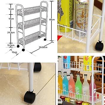 Carrito de 3 niveles con espacio de almacenamiento Carrito rodante con ruedas omnidireccionales, Slim Slide-out Torre Rack para ...