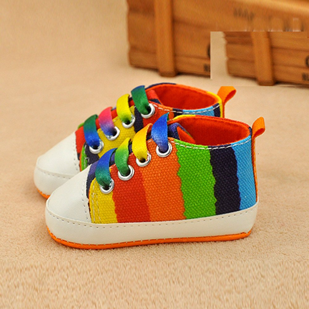 kaifongfu Fashion Baby Girl Boy Soft Sole Anti-Slip Mixed Colors Lace-Up Sport Shoes Socks Canvas Sneakers