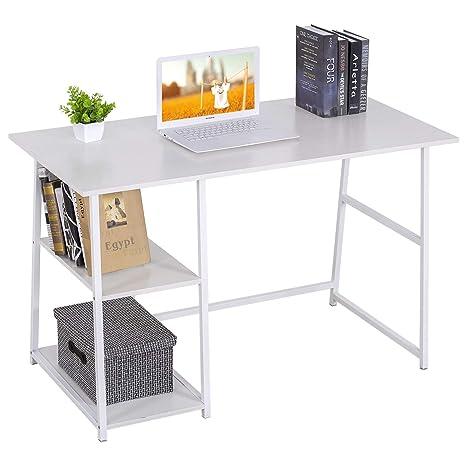 WOLTU Escritorio Mesa de Trabajo Mesa de Oficina Mesa de Ordenador portátil con 2 estantes, de Madera y Acero 120x60x76cm Blanco TSB33ws