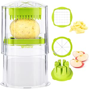 Duerer French Fry Cutter Potato Apple Slicer Cutter, Vegetable Carrot Onion Chopper Fruit Tomato Corer, Stainless Steel 2 Blade with Container, Clean Brush AirFryer Use Safe Kitchen Gadget