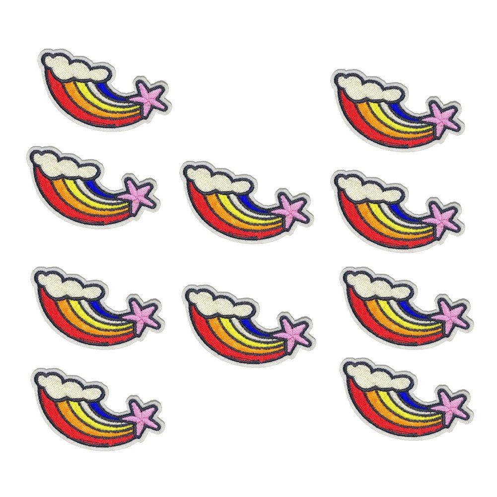 Chytaii 10pcs Bordado Parches Costura DIY Aplique Encaje Applique Lentejuelas Termoadhesivos para Ropa//Bolsa//Pantalones Forma de Rainbow