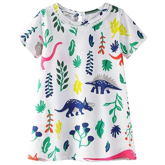 b8f1a03b3 Dinlong Vestido de Princesa con Estampado de Dinosaurios para Bebés ...