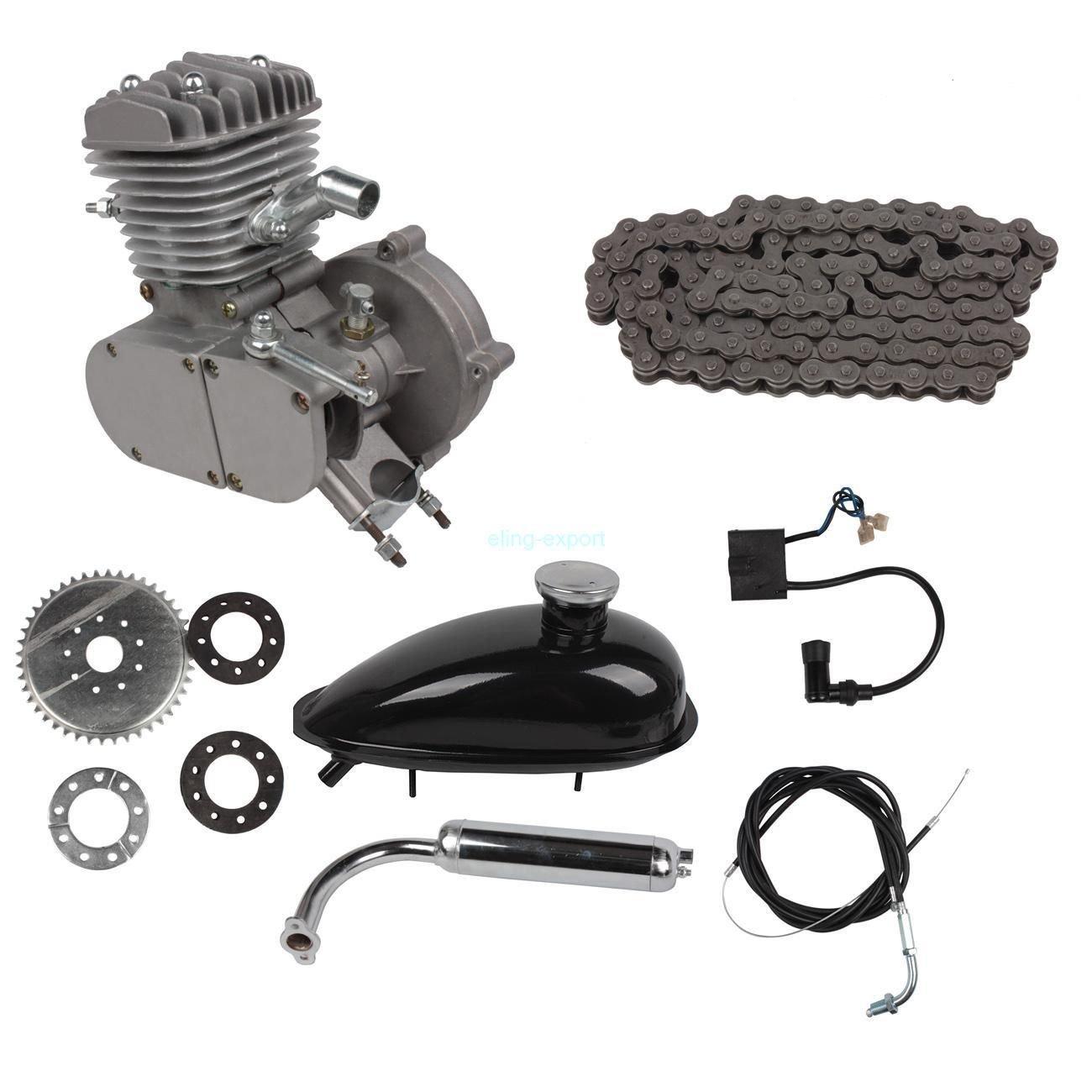 SHUOGOU 80cc 2 Tiempos Ciclo de Pedales Gasolina Motor de gas Motor Juego de motores con Inclinación de ángulo Cabeza de Inclinación para Bicicleta de ...
